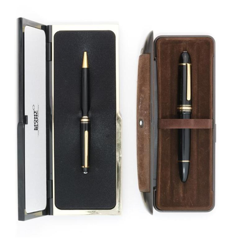 TWO MONT BLANC MEISTERSTUCK PENS Both with original cases. A 4810 Fountain pen with 18kt gold nib and a ballpoint pen.