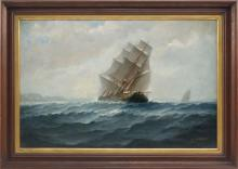 "JAMES MCAULIFFE, Massachusetts, 1848-1921, A heeling brig., Oil on canvas, 18"" x 28"". Framed 24"" x 34""."