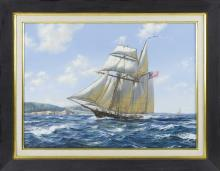"""ROY CROSS, United Kingdom, b. 1924, """"The Baltimore Clipper Swallow""""., Watercolor and gouache, 20"""" x 29"""" sight. Framed 29"""" x 37""""."""