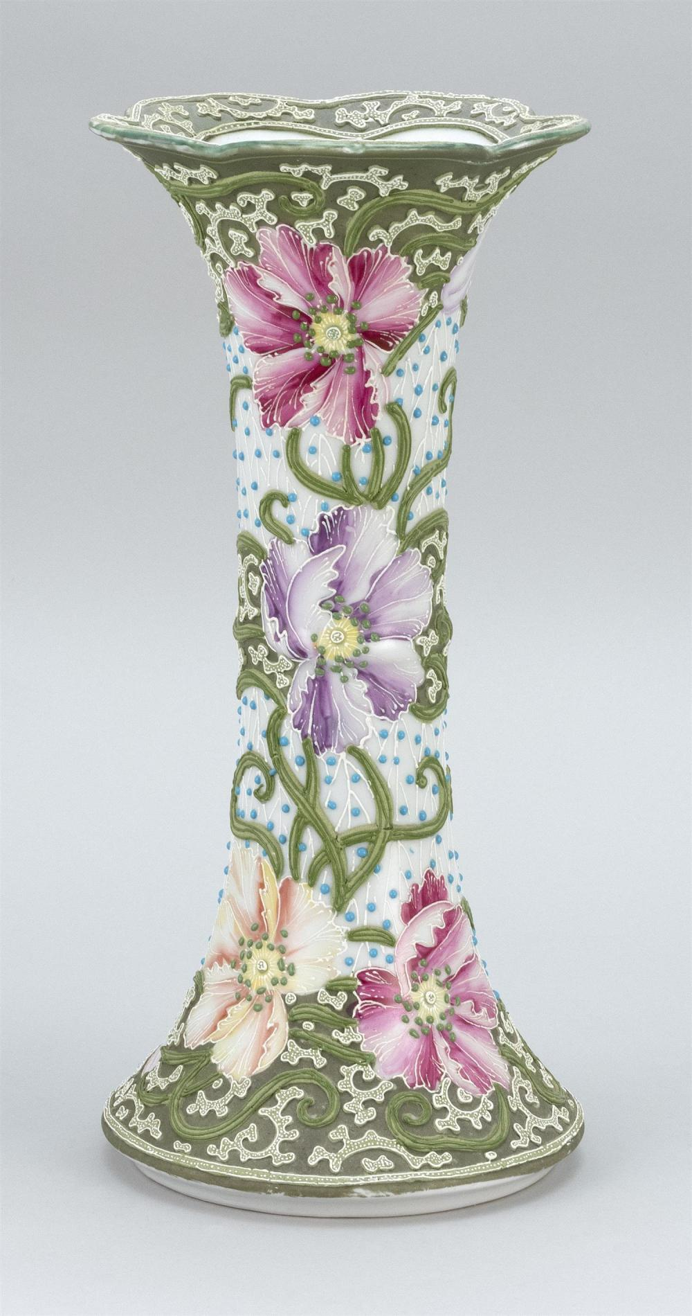 """MORIAGE NIPPON PORCELAIN VASE In trumpet form, with elaborate floral design. Height 14""""."""