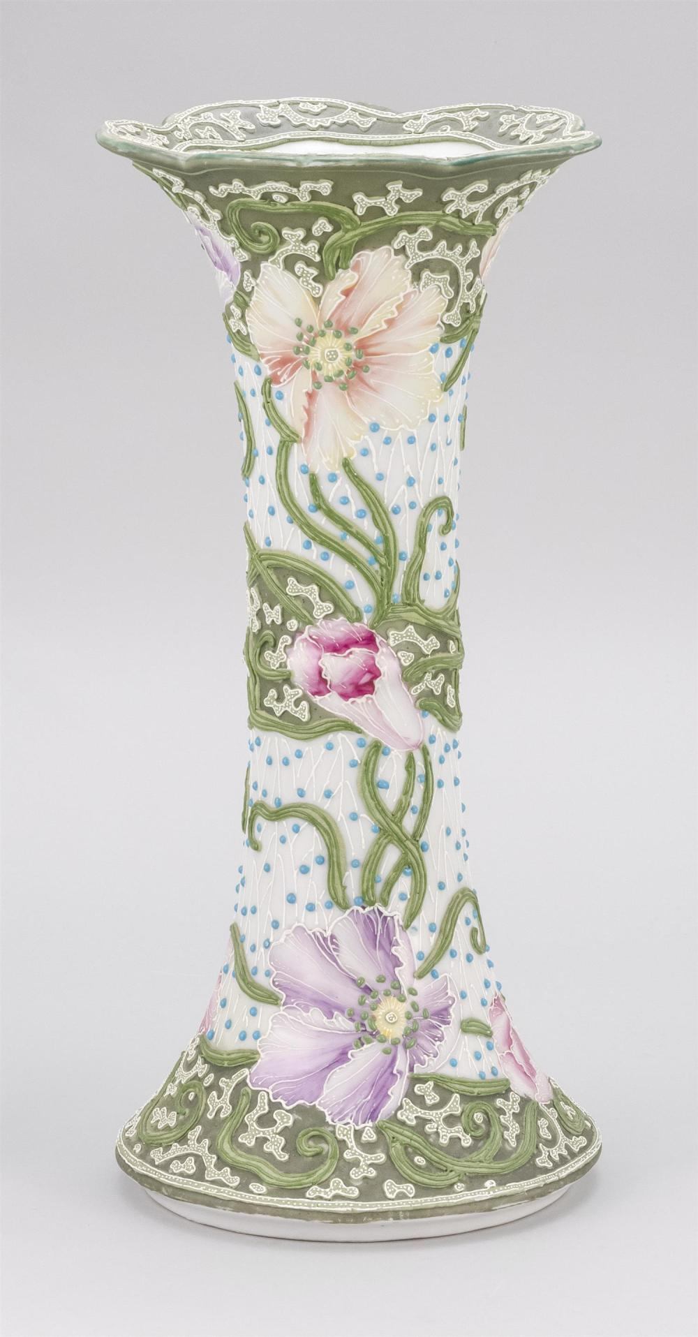MORIAGE NIPPON PORCELAIN VASE In trumpet form, with elaborate floral design. Height 14