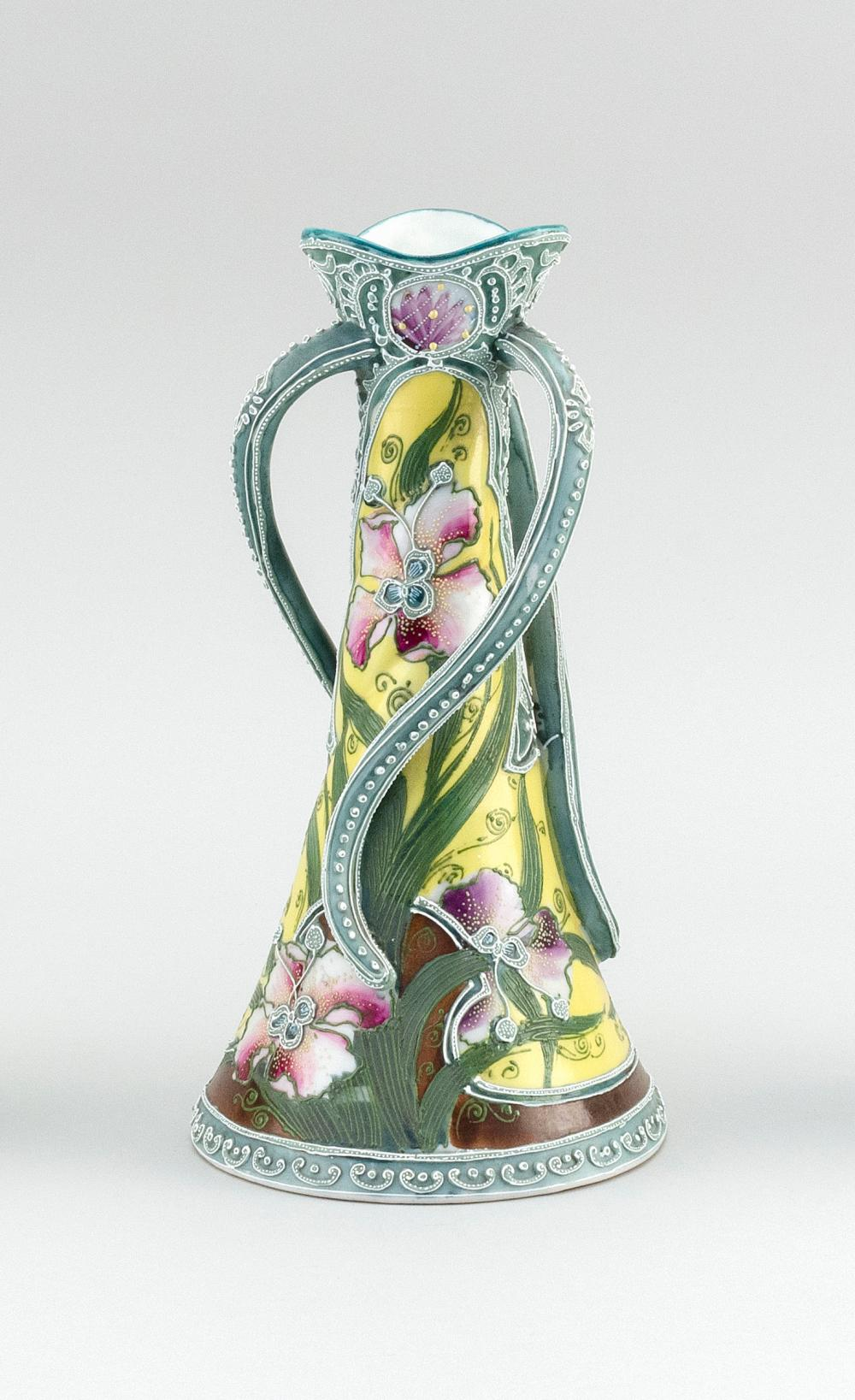 """MORIAGE NIPPON PORCELAIN VASE Conical, with three twisting handles and floral decoration. Height 10""""."""