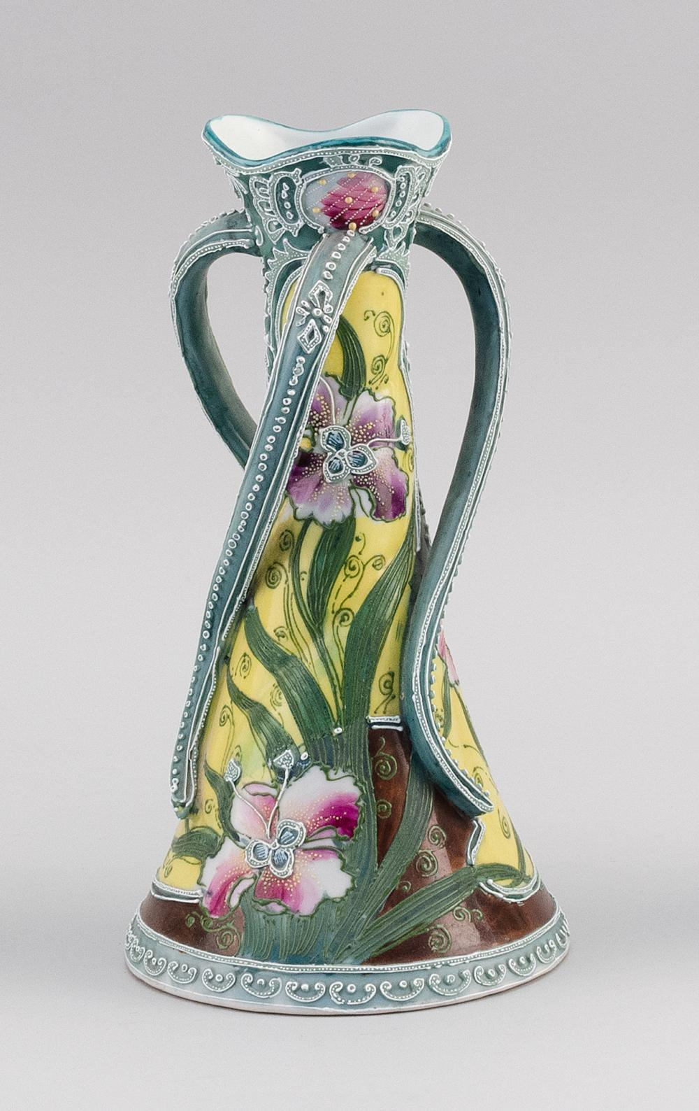 MORIAGE NIPPON PORCELAIN VASE Conical, with three twisting handles and floral decoration. Height 10