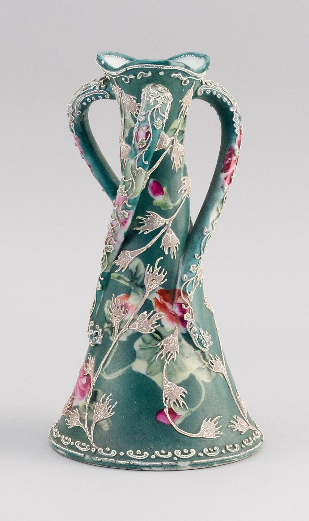 MORIAGE NIPPON PORCELAIN VASE Conical, with three twisting handles. Van Patten #90 mark on base. Height 10