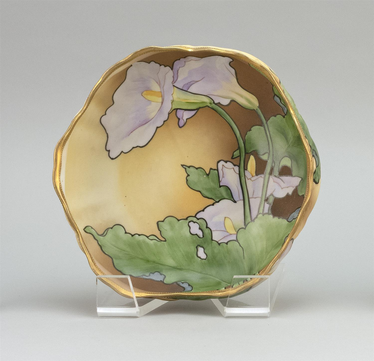 "NIPPON PORCELAIN BOWL Floriform, with raised foot and calla lily decoration. Van Patten #42 mark on base. Diameter 8.5""."