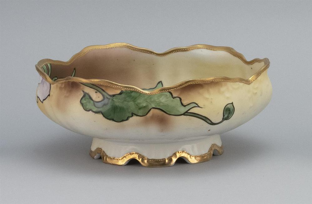 NIPPON PORCELAIN BOWL Floriform, with raised foot and calla lily decoration. Van Patten #42 mark on base. Diameter 8.5