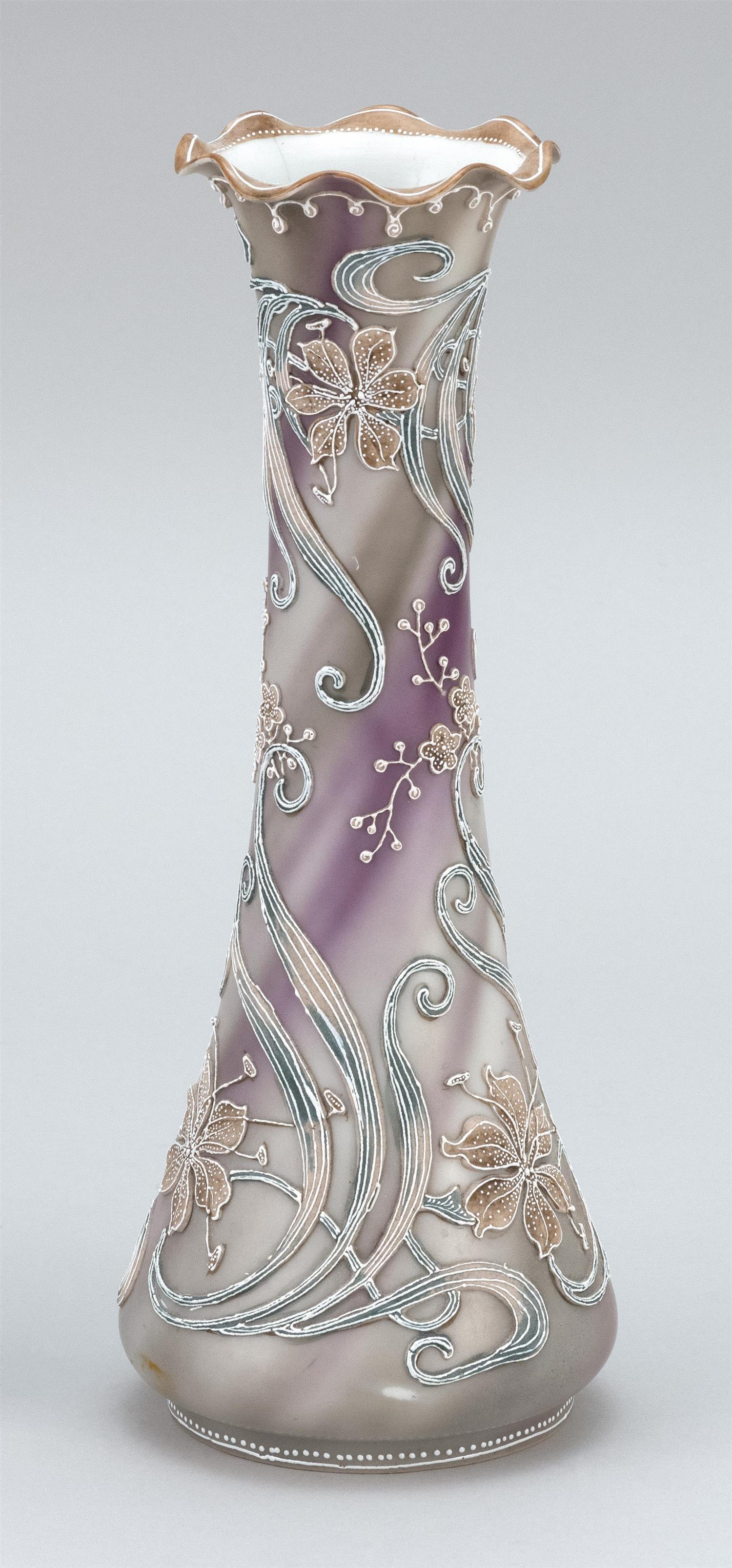 "MORIAGE NIPPON PORCELAIN VASE Conical, with a floral design on a smoke gray ground. Height 11""."