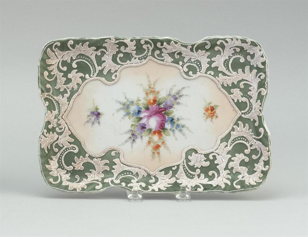 MORIAGE NIPPON PORCELAIN DRESSER TRAY Rectangular, with central floral cartouche. Crown mark on base. Length 9.75