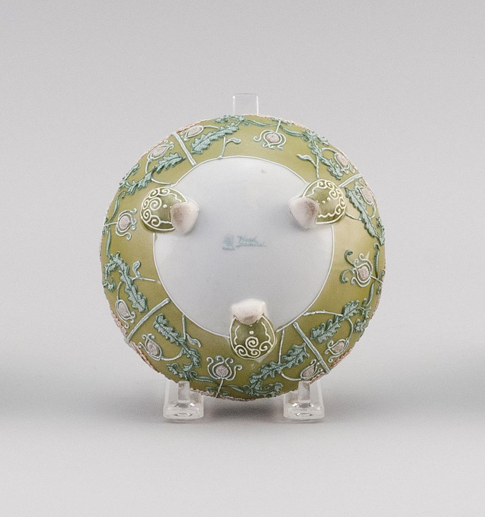 MORIAGE NIPPON PORCELAIN FOOTED BOWL Ovoid, with tripod base and passionflower decoration. Van Patten #52 mark on base. Diameter 5.5