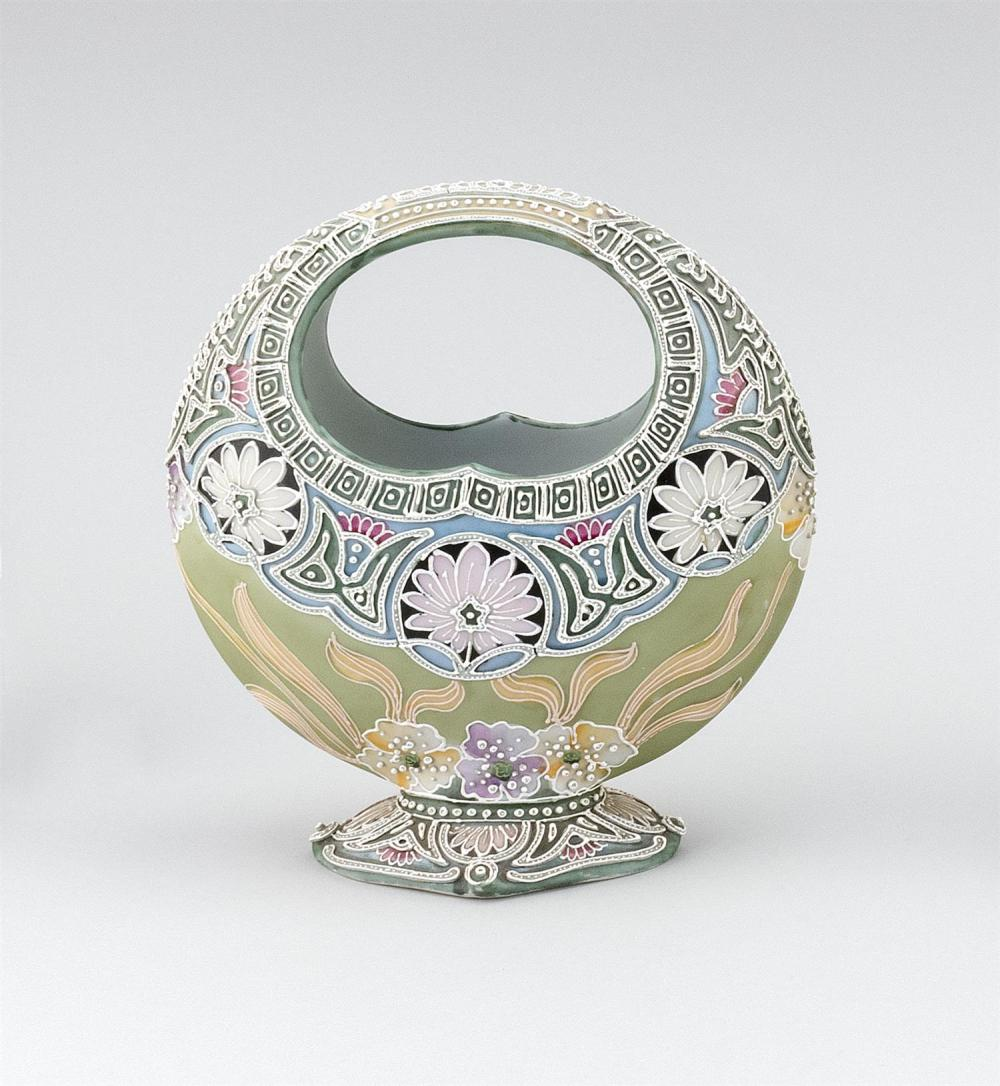 "MORIAGE NIPPON PORCELAIN VASE In basket form, with a stylized floral design. Height 8.5""."