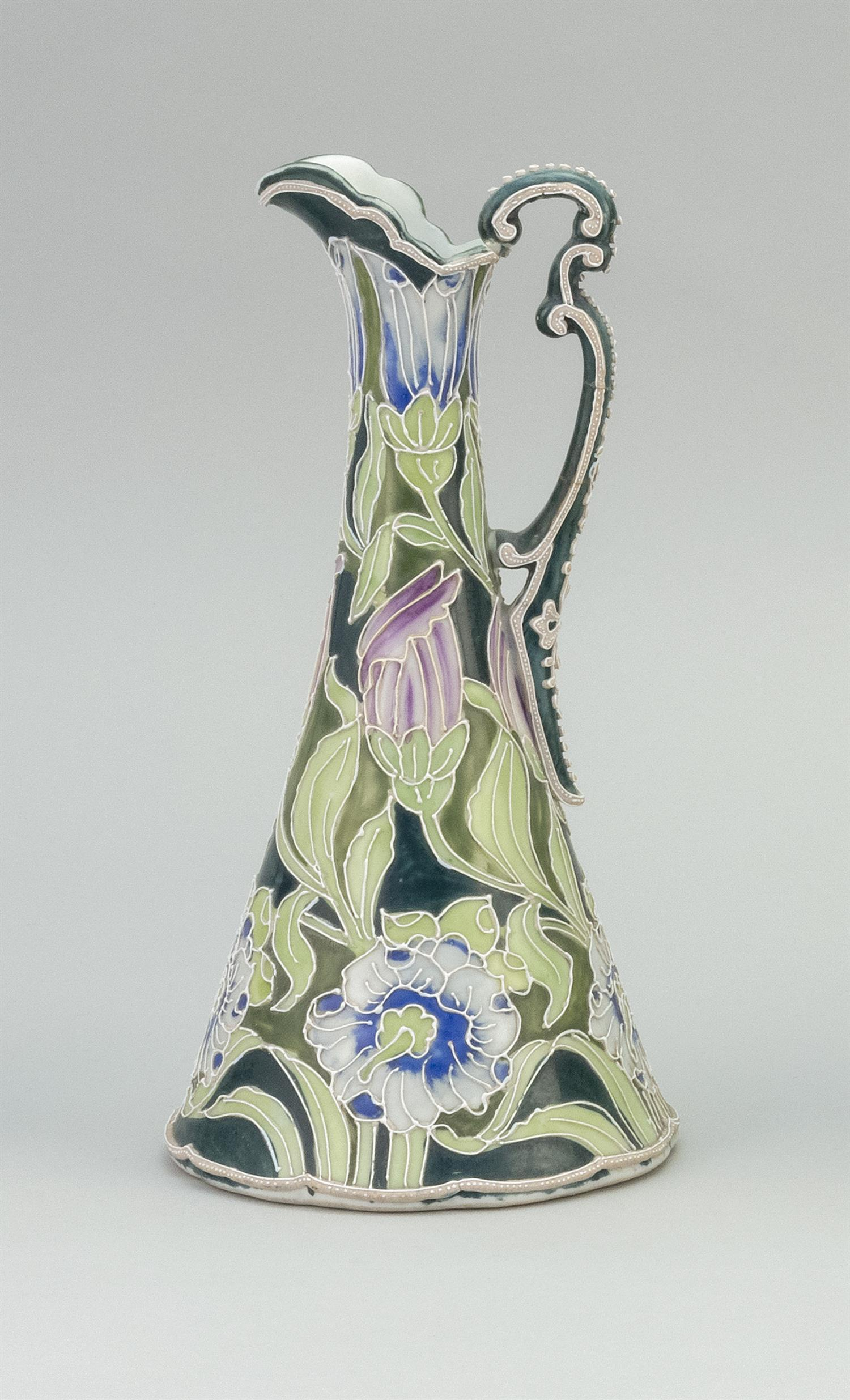 MORIAGE NIPPON PORCELAIN EWER Conical, with floral design.