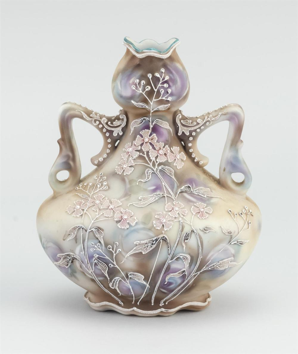 MORIAGE NIPPON PORCELAIN VASE In waisted form, with two handles. Body decorated with moriage flowers on a floral-patterned ground. V...