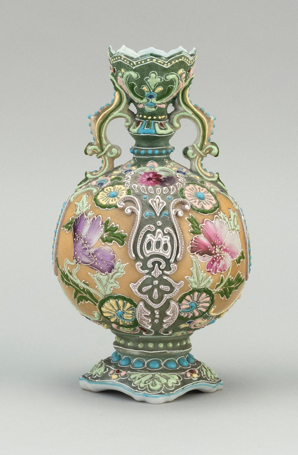 MORIAGE NIPPON PORCELAIN VASE Ovoid, with floral decoration. Height 8