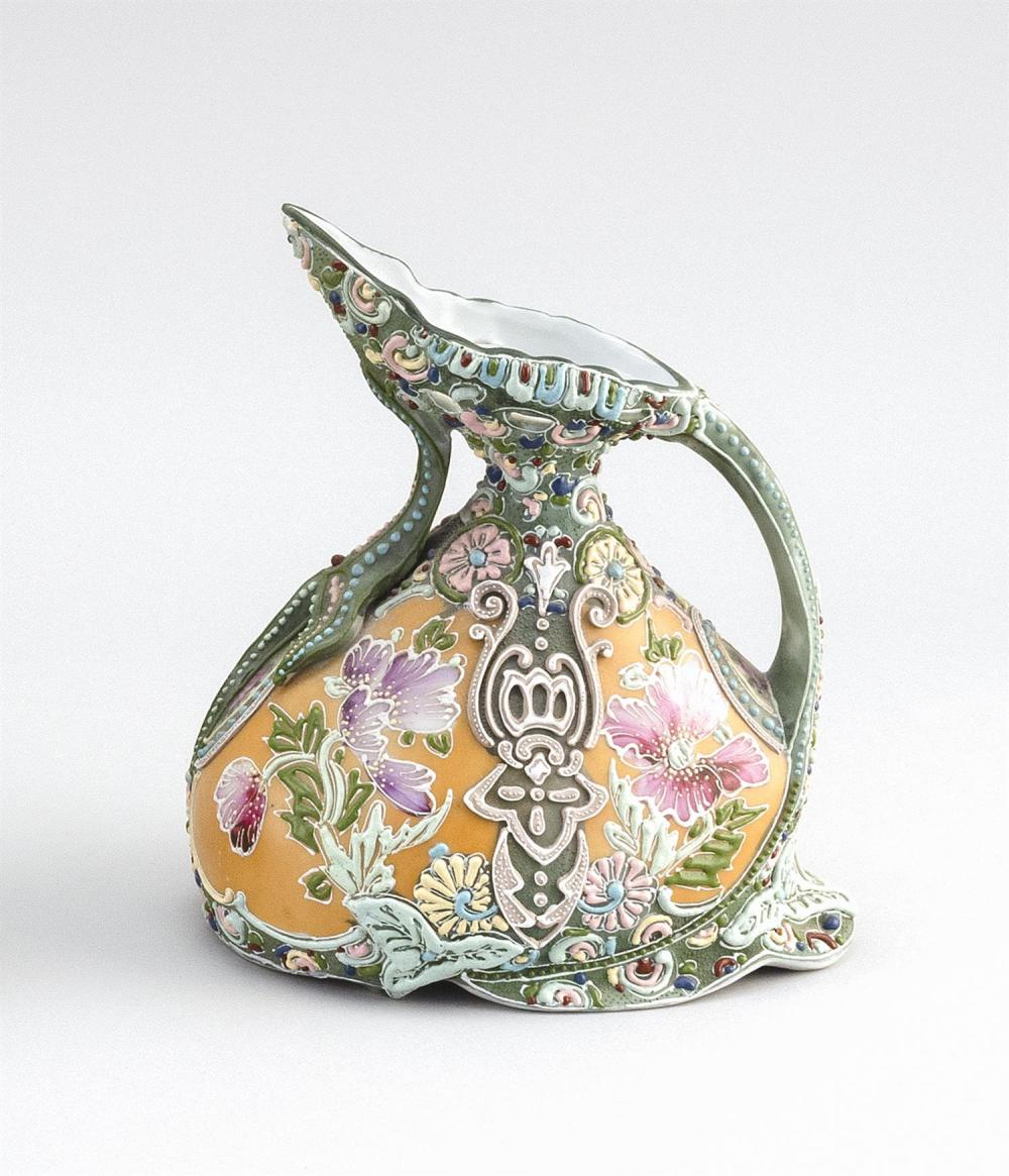 """MORIAGE NIPPON PORCELAIN EWER In pear form, with floral design. Height 7.5""""."""