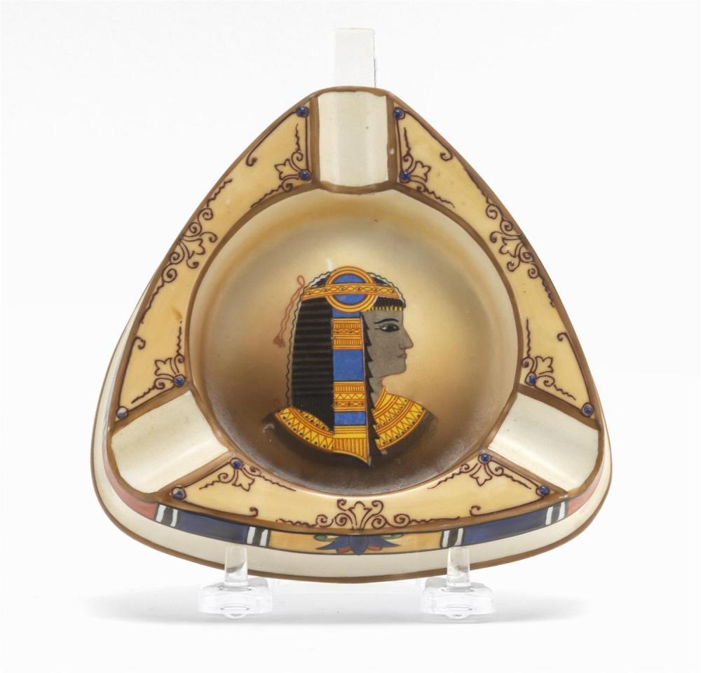 "NIPPON PORCELAIN ASHTRAY Triangular, with decoration of Egyptian motifs. Van Patten #47 mark on base. Length 5.25""."