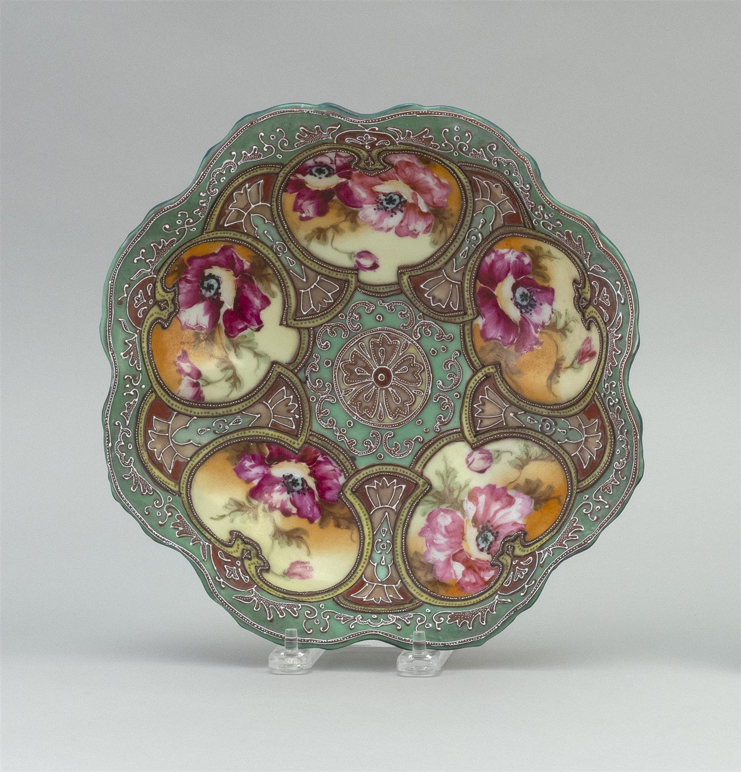 """MORIAGE NIPPON PORCELAIN BOWL Floriform, with a colorful floral design. Diameter 9.5""""."""