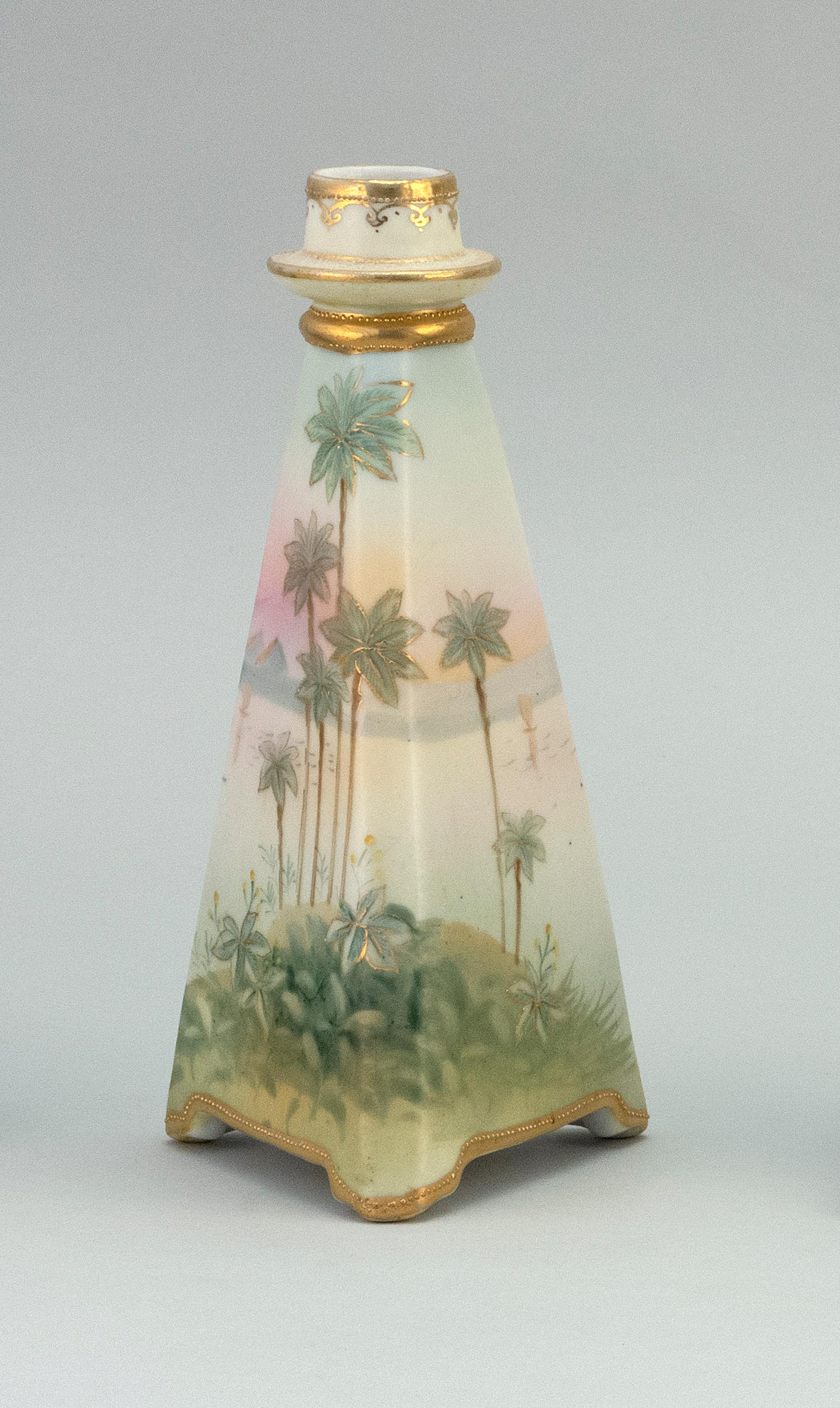 """NIPPON PORCELAIN CANDLESTICK In pyramid form, with scenic decoration of the Nile. Van Patten #47 mark on base. Height 8""""."""