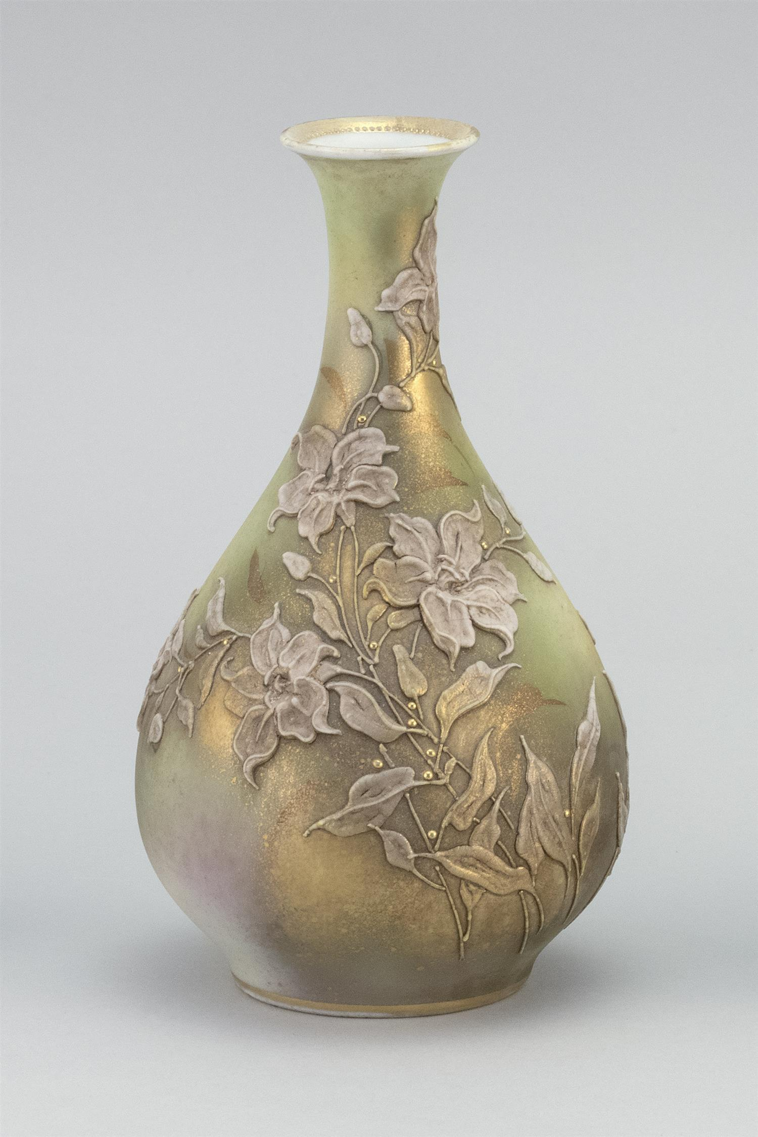 "MORIAGE NIPPON PORCELAIN VASE In bladder form, with a lily design on a green ground. Van Patten #52 mark on base. Height 7""."