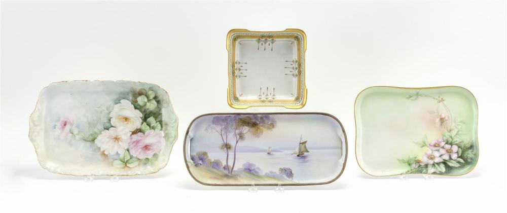 "FOUR PORCELAIN SERVING DISHES A Pickard square dish, length 7.25"", a Nippon tray with sailboat scene, length 14"", a Limoges tray wit..."