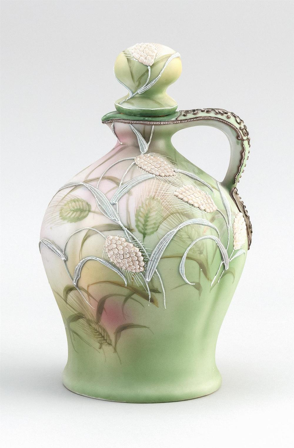 "MORIAGE NIPPON PORCELAIN CLARET JUG With moriage wheat design on a wheat-patterned ground. Van Patten #52 mark on base. Height 9""."