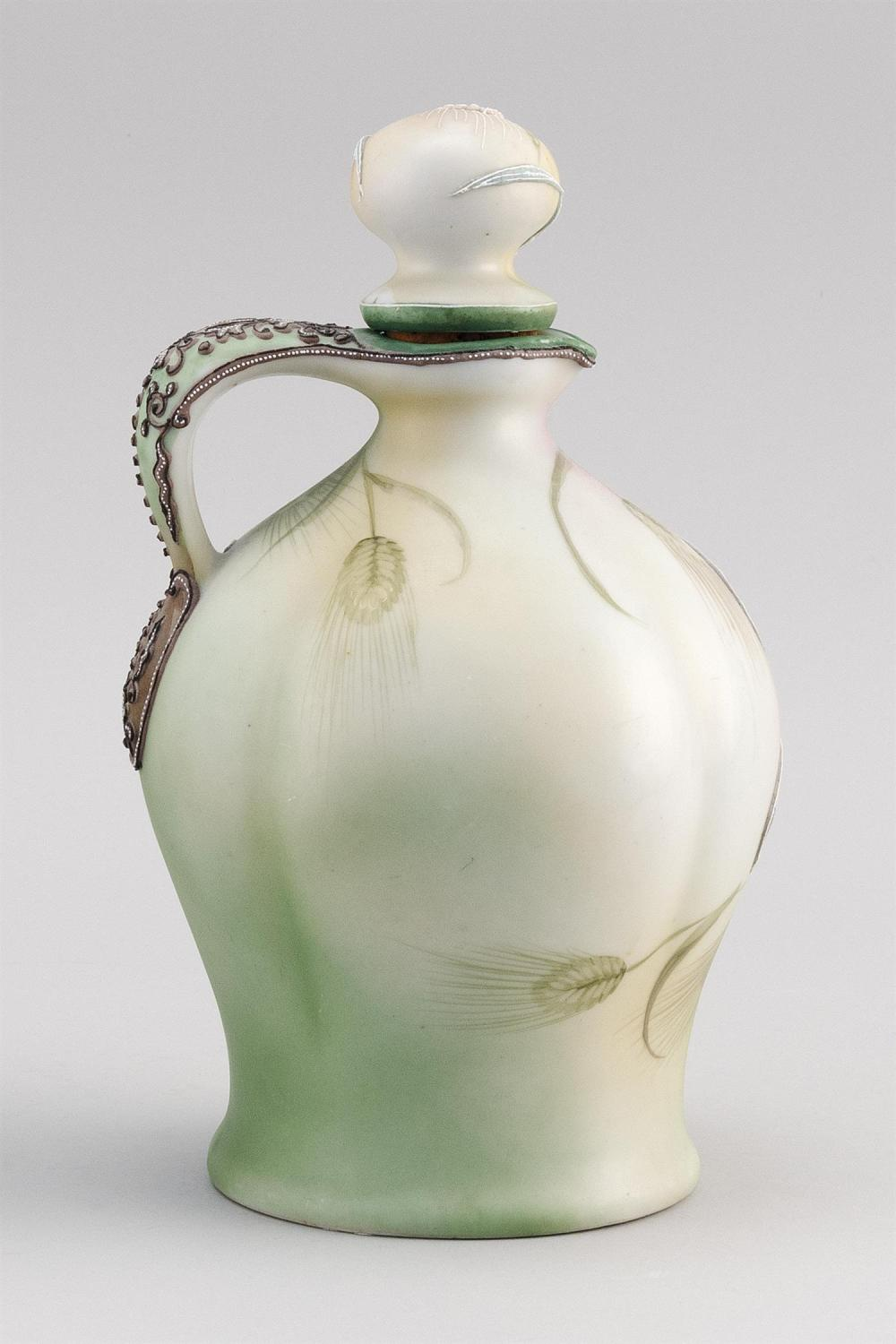 MORIAGE NIPPON PORCELAIN CLARET JUG With moriage wheat design on a wheat-patterned ground. Van Patten #52 mark on base. Height 9