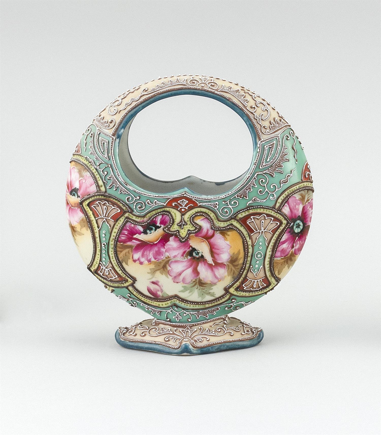 """MORIAGE NIPPON PORCELAIN VASE In basket form, with floral design. Height 7.75""""."""