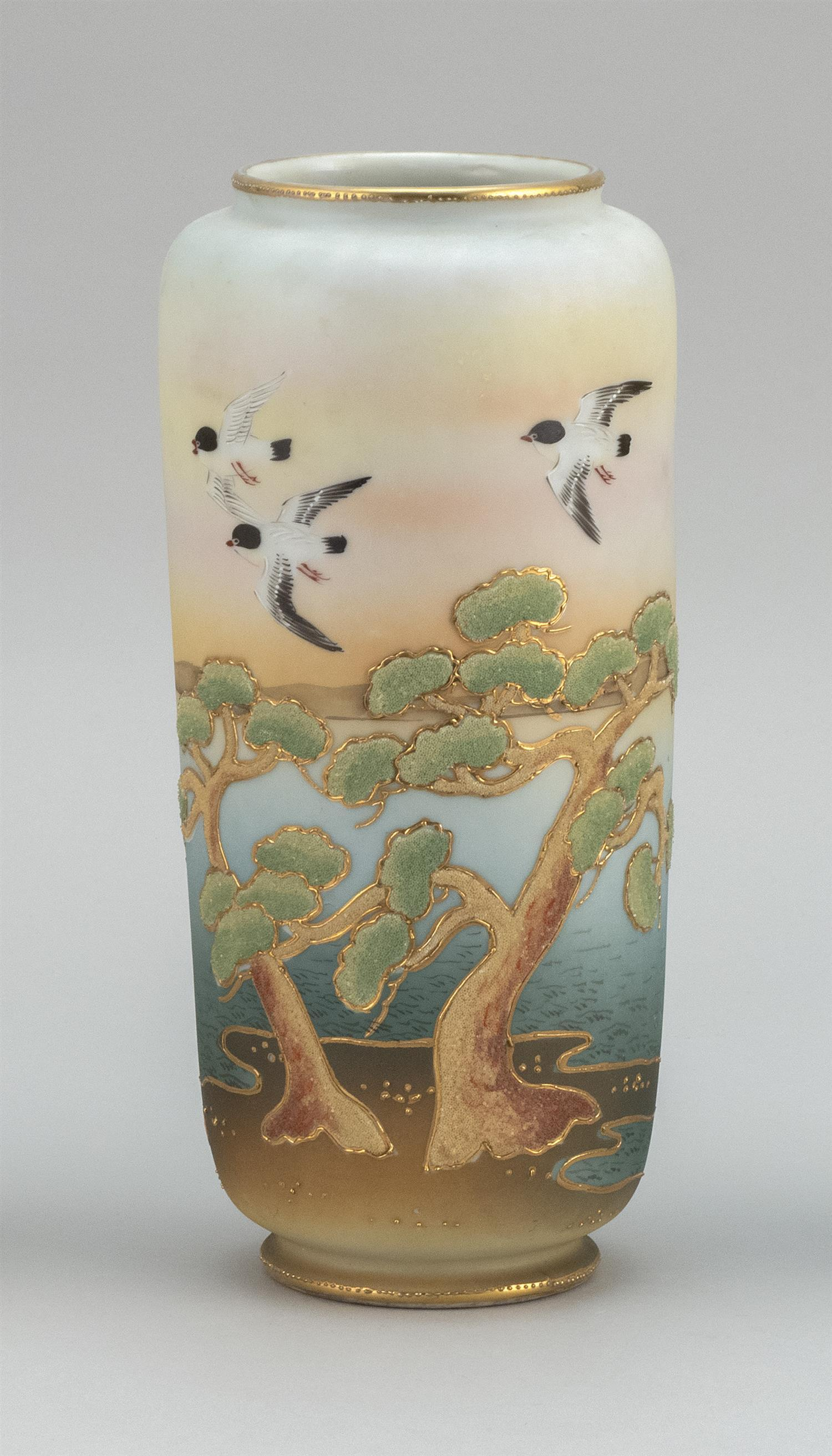 """CORALINE NIPPON PORCELAIN VASE Cylindrical, with sparrow and pine tree design. Height 9.75""""."""