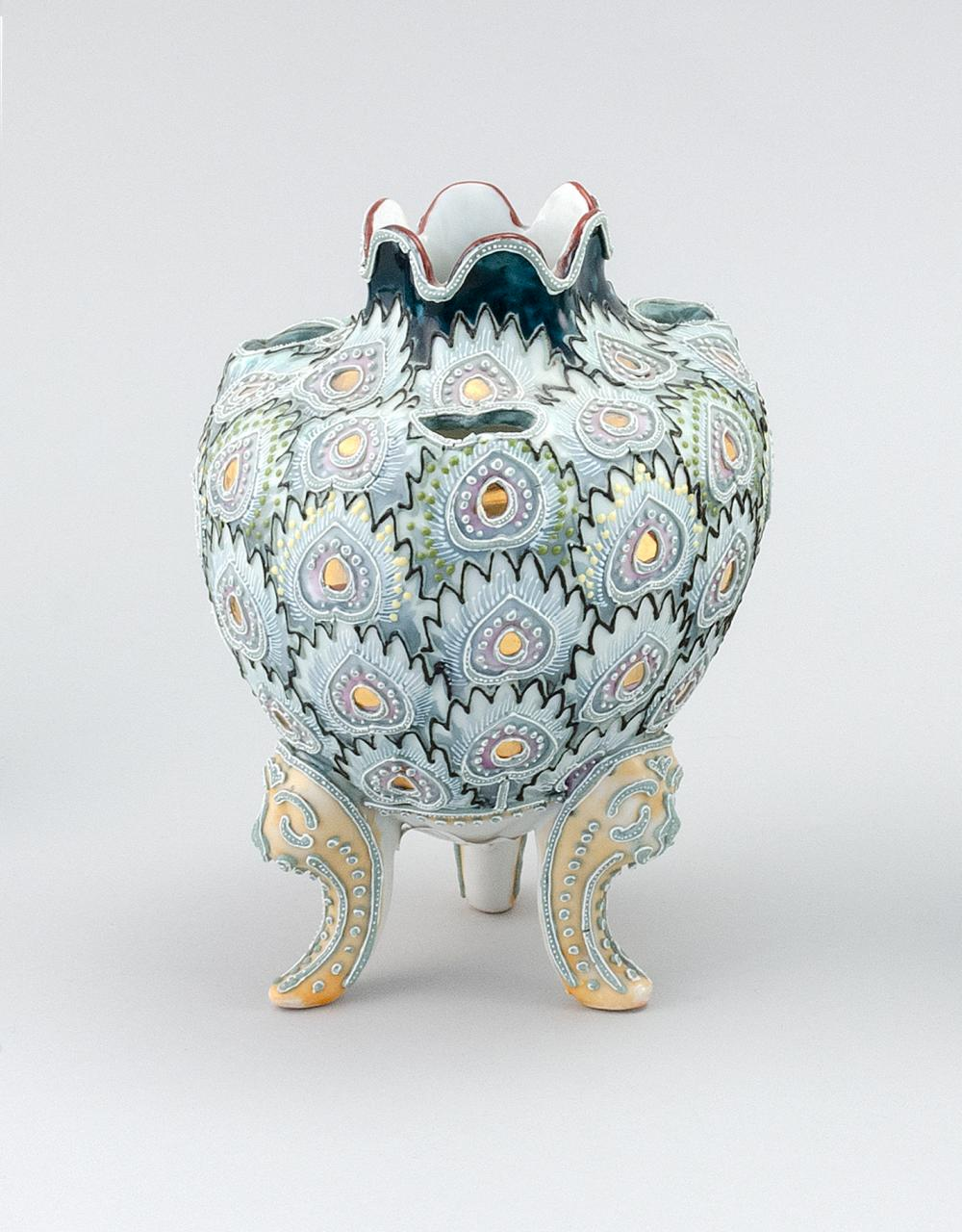 "MORIAGE NIPPON PORCELAIN NARCISSUS VASE Ovoid, with peacock feather design. Van Patten #90 mark on base. Height 7""."