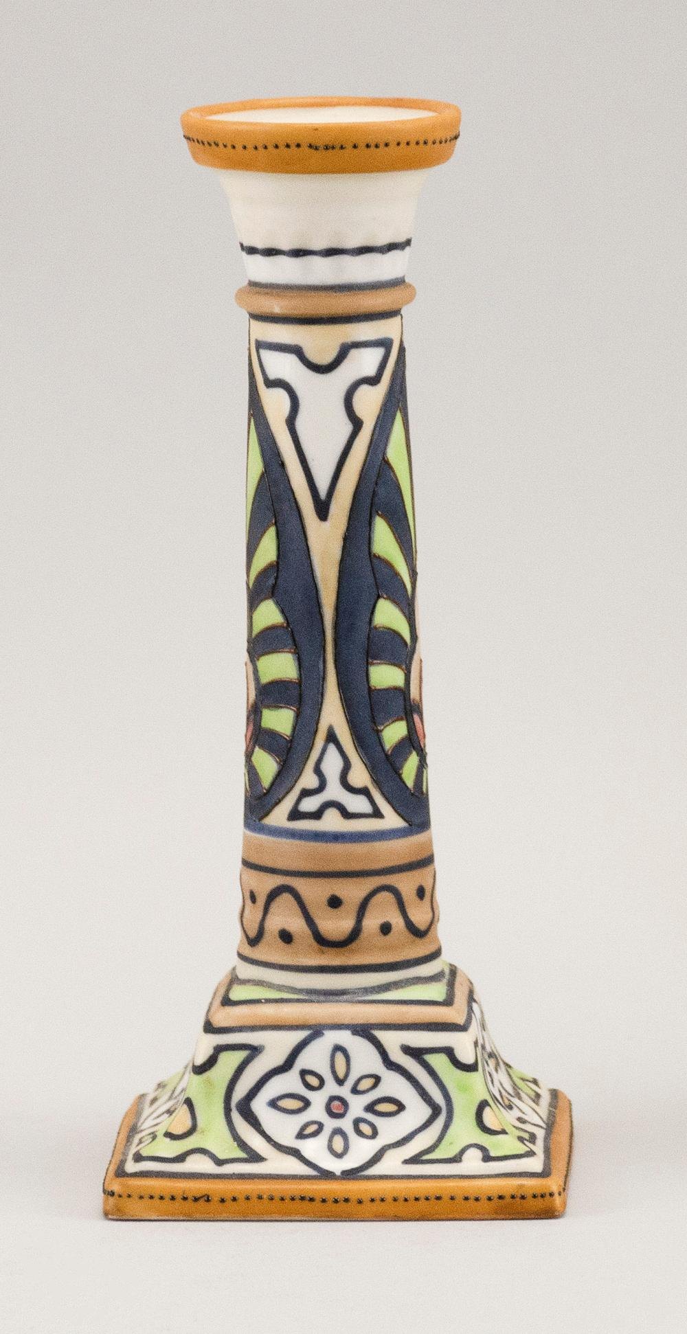 NIPPON PORCELAIN CANDLESTICK With Art Deco-style decoration. Van Patten #47 mark on base. Height 7.5