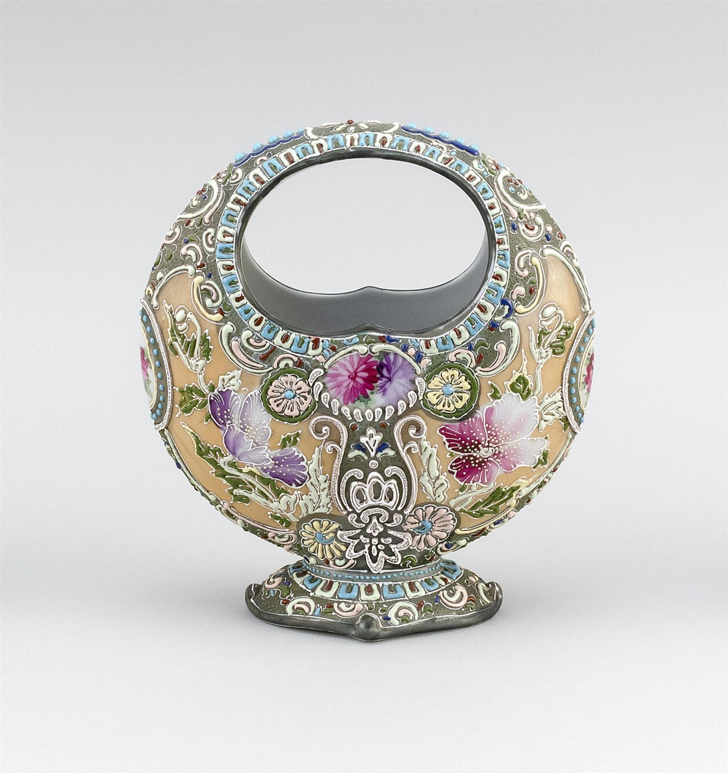 """MORIAGE NIPPON PORCELAIN VASE In basket form, with floral design. Height 9""""."""