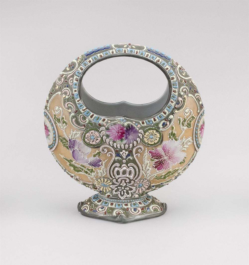 MORIAGE NIPPON PORCELAIN VASE In basket form, with floral design. Height 9