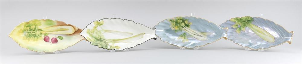"""FOUR PORCELAIN CELERY DISHES All in leaf form, made from the same mold. Noritake mark on bases. Lengths 12.5""""."""