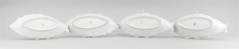 FOUR PORCELAIN CELERY DISHES All in leaf form, made from the same mold. Noritake mark on bases. Lengths 12.5