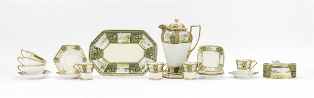 "EIGHTEEN PIECES OF NIPPON PORCELAIN A demitasse coffeepot, height 9.5"", a tray, length 11.25"", a trivet, diameter 6"", four demitasse..."