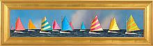 JEROME HOWES, American, Contemporary, The Rainbow Fleet, Nantucket., Oil on masonite, 8