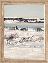 VICKI MACLEAN, Canadian, Contemporary, Seaside village in winter., Oil on masonite, 24