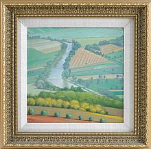 SHARON BOWAR, Pennsylvania, Contemporary, Looking down on the farmlands., Oil on masonite, 11