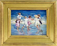 BRIAN A. BECKEN, American, b. 1949, Children playing in the surf., Oil on board, 10