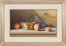 PAMELA PINDELL, American, b. 1950, Still life of peaches and a copper basin., Pastel on paper, 12.75