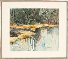 "ELIZABETH PRATT, Cape Cod, Contemporary, ""Golden Marsh""., Watercolor on paper, 19"" x 22"" sight. Framed."