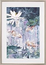 "ELIZABETH PRATT, Cape Cod, Contemporary, Water lilies., Watercolor on paper, 29"" x 19"" sight. Framed."