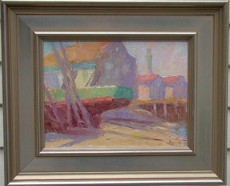 HILDA NEILY, Cape Cod Contemporary, Provincetown drydock., Oil on masonite, 9
