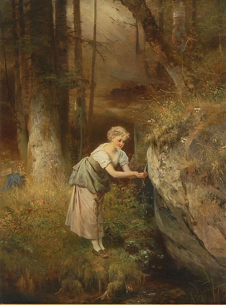 ANTON HEINRICH DIEFFENBACH, German, 1831-1914, Young woman at a mountain spring., Oil on canvas, 29