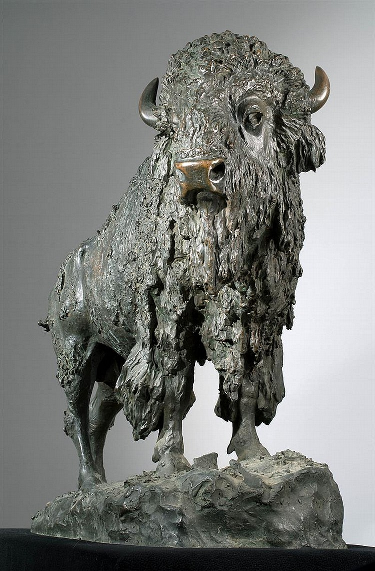 "HENRY MERWIN SHRADY, American, 1871-1922, ""Elk Buffalo""., Bronze, height 22.5"". Length 29""."