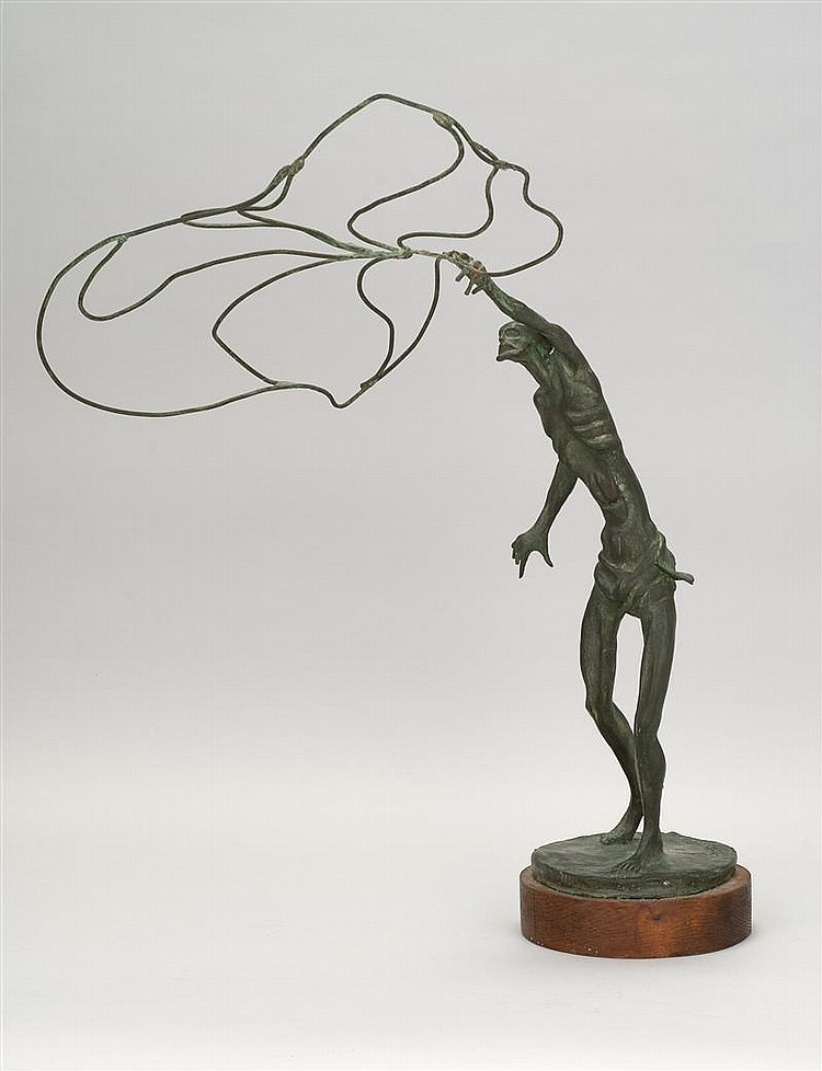 "FREDERICK CHARLES SHRADY, American, 1907-1990, Peter, Fisher of Men,, Bronze, height 22"" including wooden stand."