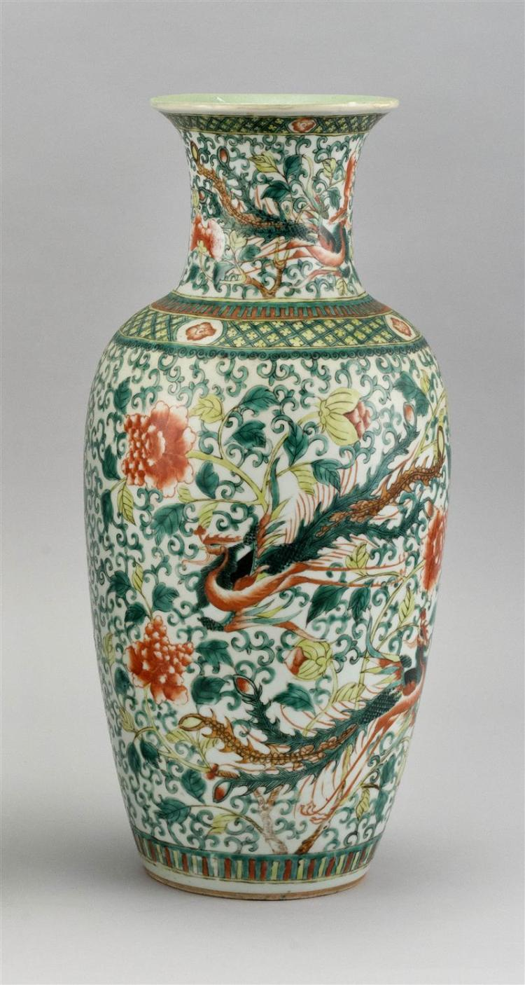 """CHINESE FAMILLE VERTE PORCELAIN VASE In rouleau form with phoenix and peony design. Height 17.75""""."""