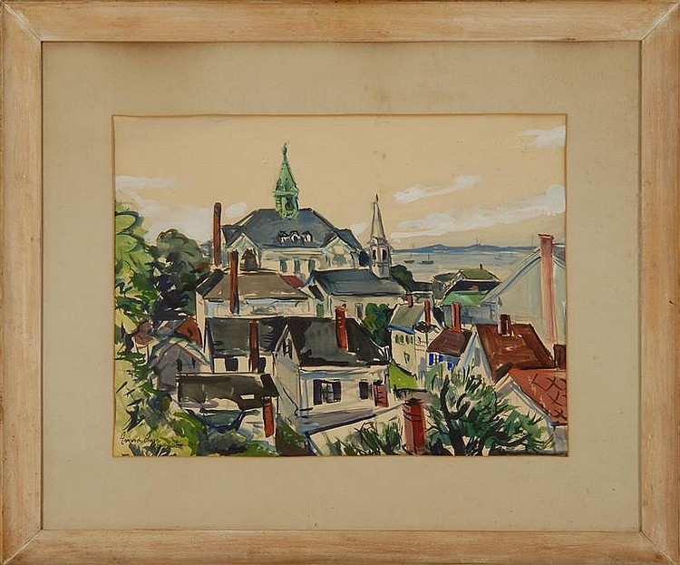 FREDERICK O'HARA, American, 1904-1980, Provincetown Rooftops., Watercolor and gouache on paper, 18