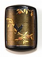 SOMADA-STYLE FOUR CASE LACQUER INRO Depicting ravens on a golden tree branch surrounded by an awabi shell border, all on a black gro...
