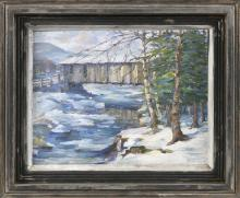 """PETER BELA MAYER, New York/Hungary, 1887-1993, """"Winter's Charm""""., Oil on canvas board, 14"""" x 18"""". Framed 20"""" x 24""""."""