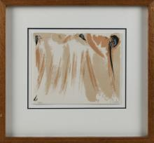 """OLIVIER DEBRE, France, 1920-1999, Abstract in pinks and whites., Lithograph on paper, 8.5"""" x 10.5"""" sight. Framed 17"""" x 19""""."""